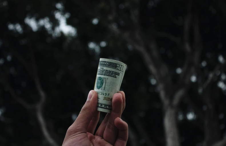 hand holding roll of money